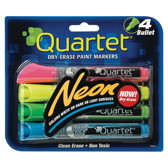 Quartet® Neon Dry-Erase Markers, Bullet Tip, Assorted Colors, 4 Pack