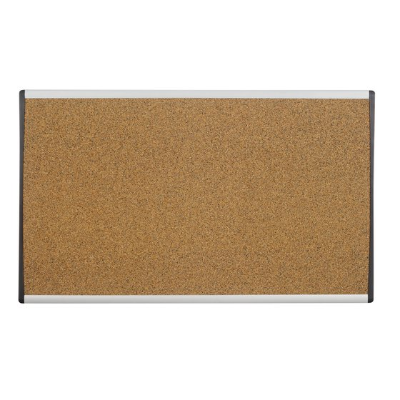 "Quartet® Arc™ Cubicle Bulletin Board, 30"" x 18"", Colored Cork, Aluminum Frame"