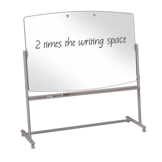 Quartet® Large Reversible Total Erase® Mobile Easel, Whiteboard, 6' x 4', Neutral Frame
