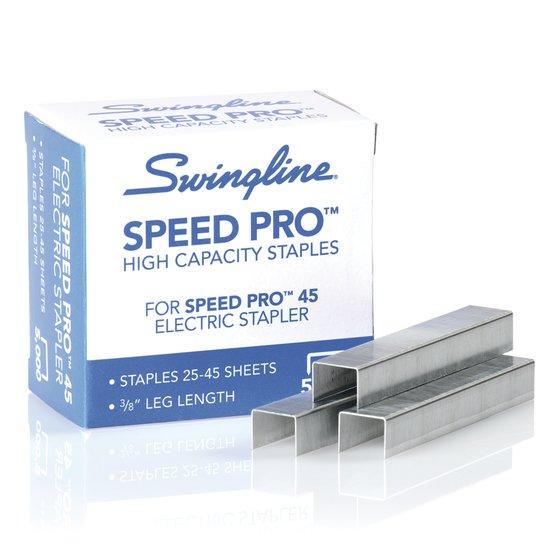 "Swingline® Speed Pro™ High Capacity Staples, 3/8"" Leg Length, 210 Per Strip, 5,000 Per Box"