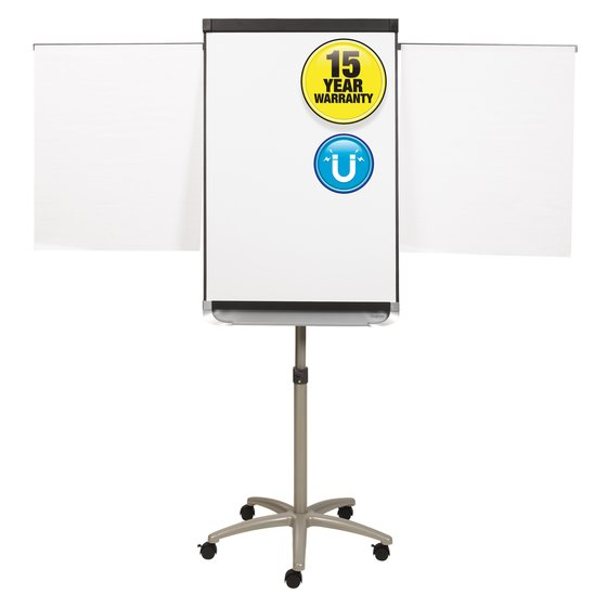 Quartet® Prestige® 2 Mobile Presentation Easel, Magnetic Whiteboard/Flipchart, 2' x 3', Graphite Finish Frame