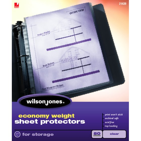 Wilson Jones® Economy Weight Top-Loading Sheet Protectors