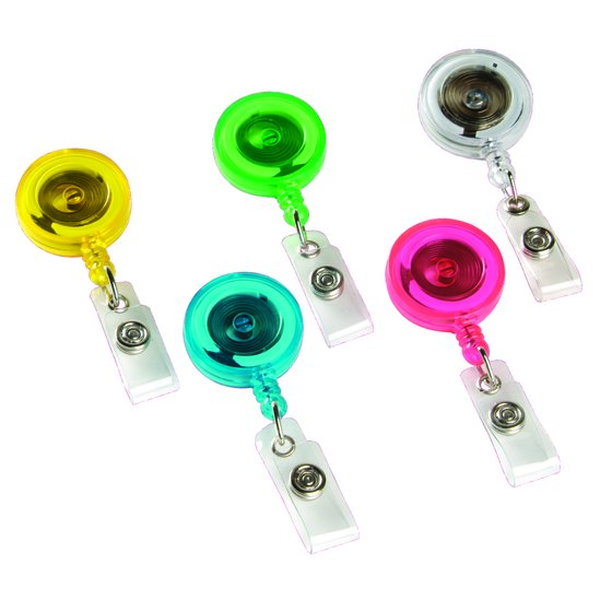 Swingline® GBC® Retractable Badge Reel, Translucent Brites Color Assortment, 5 Pack