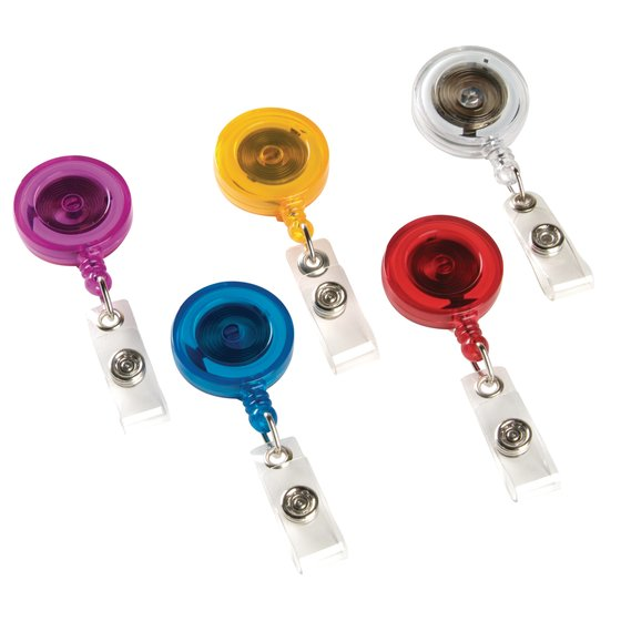 GBC Retractable Badge Reel, Translucent Primary Color Assortment, 5 Pack (37472)