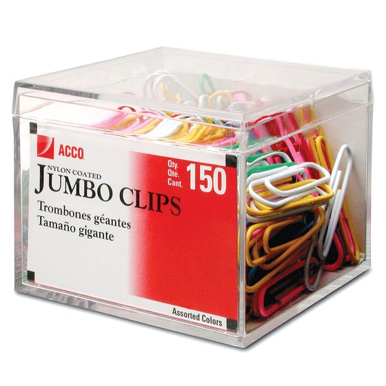 ACCO® Nylon Coated Paper Clips, Smooth Finish, Jumbo Size, Assorted Colors 150/Box