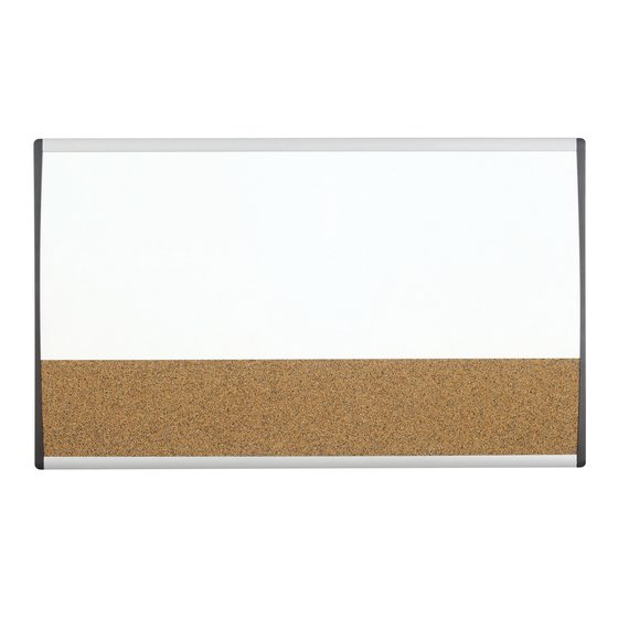 "Quartet® Arc™ Cubicle Combination Board, 30"" x 18"", Magnetic Whiteboard/Cork Surface, Aluminum Frame"