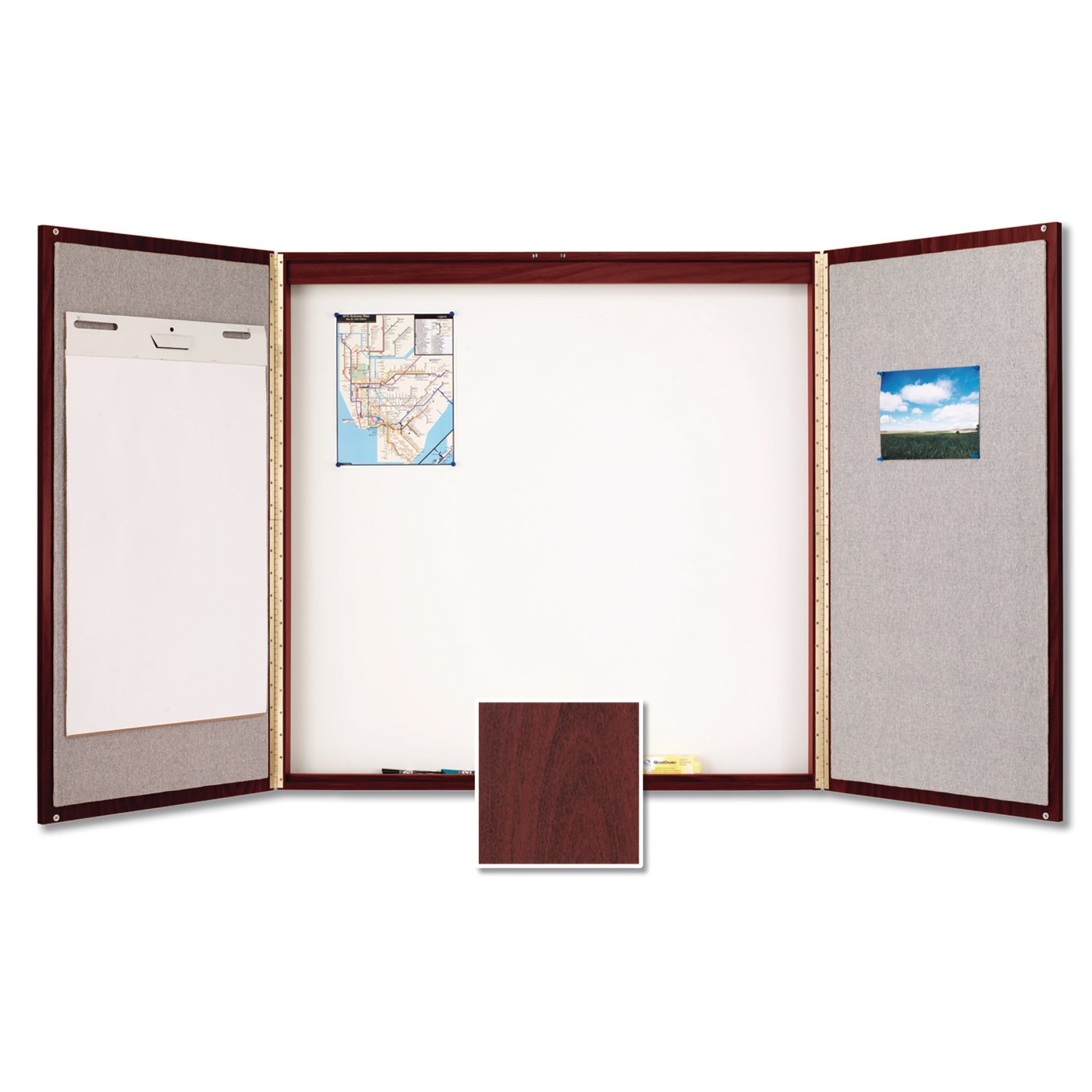 Quartet® Laminate Conference Room Cabinet, 4u0027 X 4u0027, Whiteboard/Bulletin