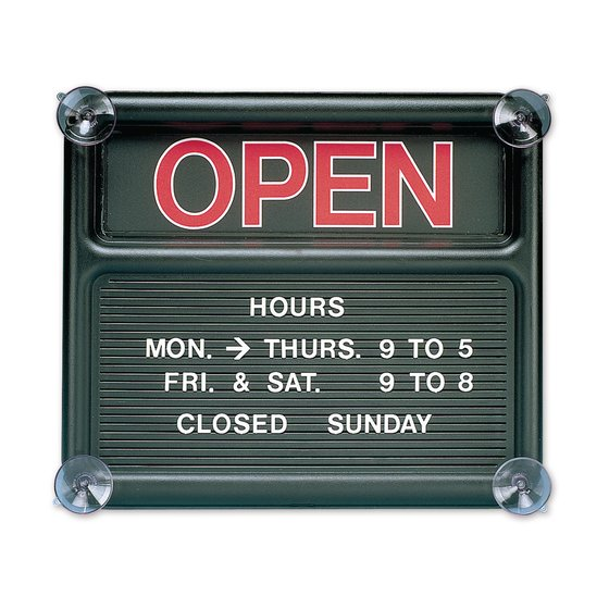"Quartet® Black Open/Closed Sign, 14 3/8"" x 12 3/8"", Message Board"