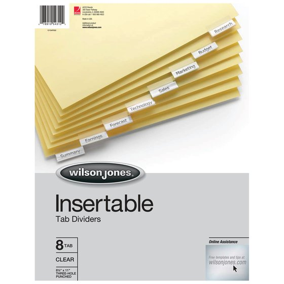 Wilson Jones - Binder Accessories - Insertable Dividers - Wilson ...
