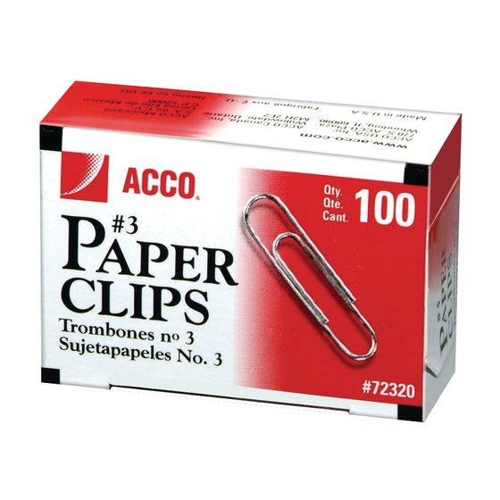 "ACCO® Economy #3 Paper Clips, Smooth Finish, 15/16"", 100/Box"