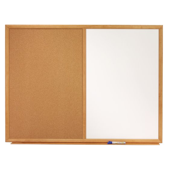 Quartet® Standard Combo Whiteboard/Bulletin Boards, Oak Frame & Natural Cork