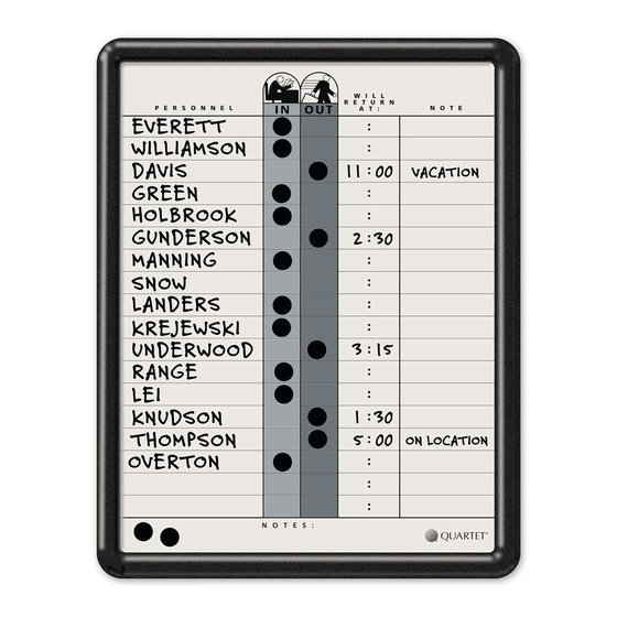 "Quartet® Classic Gray In/Out Board, 11"" x 14"", DuraMax® Porcelain, Black Frame"