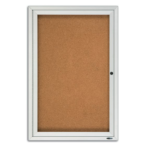 Quartet® Classic Style Enclosed Cork Bulletin Boards for Outdoor Use, Swing Door, Aluminum Frame