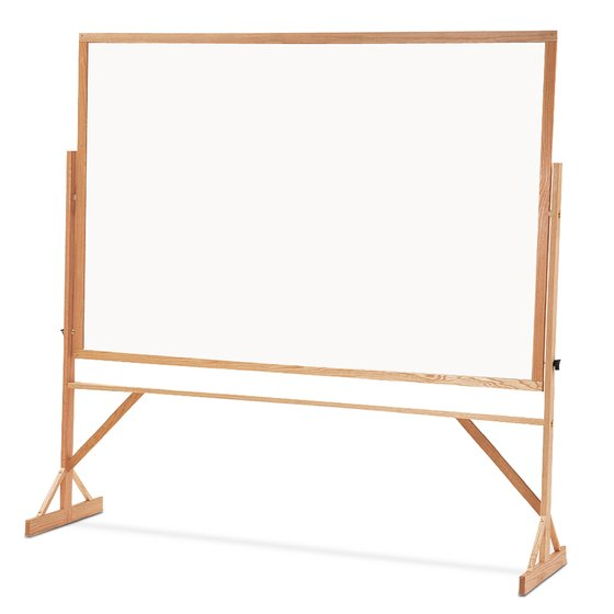 Quartet® Reversible Easel - Porcelain Whiteboard, 4' x 6', Hardwood Frame