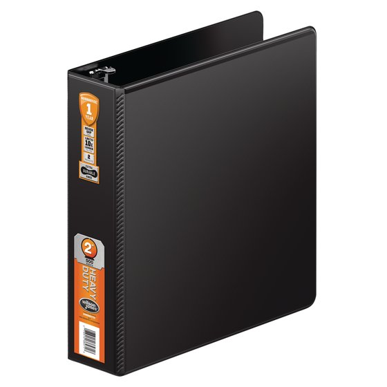 "Wilson Jones Heavy Duty D-Ring Binder with Extra Durable Hinge, 2"", Black"