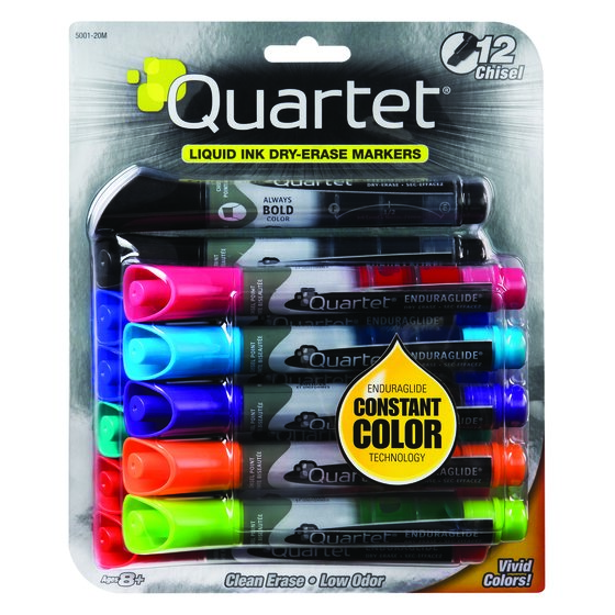 Quartet® EnduraGlide® Dry-Erase Markers, Chisel Tip, Assorted Colors, 12 Pack