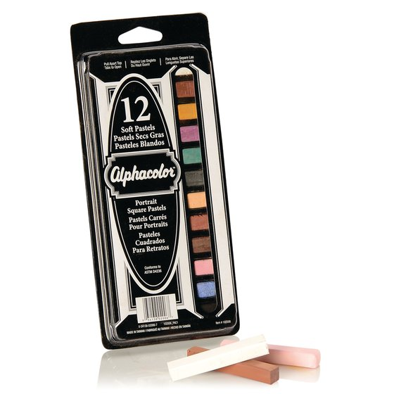 Alphacolor® Soft Square Pastels, Portrait Assortment, 12 Colors, 12/Pack