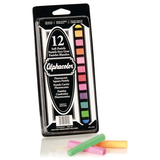 Alphacolor® Soft Square Pastels, Fluorescent Assortment, 12 Colors, 12 Pack