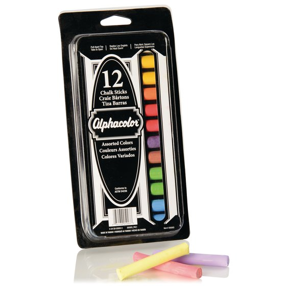 Alphacolor® Chalk Sticks, Assorted Colors, 8 Colors, 12 Pack