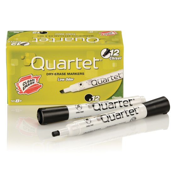 Quartet® Low Odor Dry-Erase Marker, Chisel Tip, DryGuard Ink, Black, 12 Pack