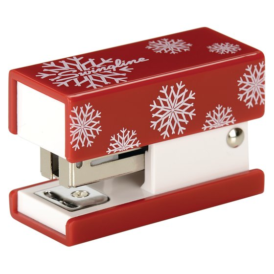 Swingline® Mini Fashion Stapler, 12 Sheets, Red with White Snowflakes