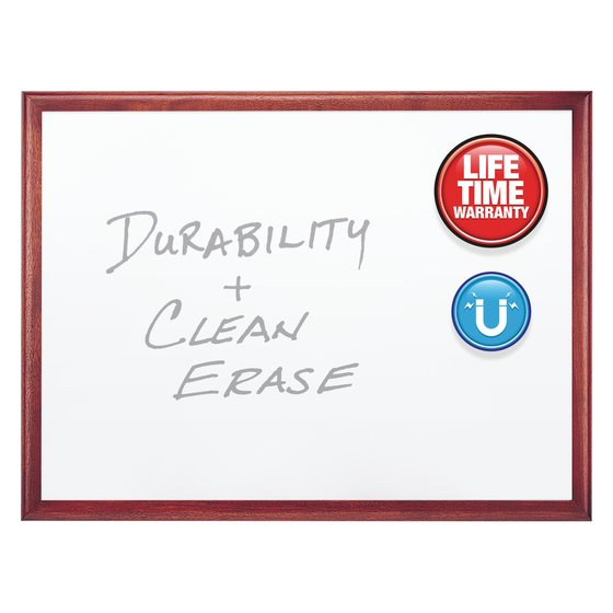Quartet® Premium DuraMax® Porcelain Magnetic Whiteboards, Mahogany Finish Frame