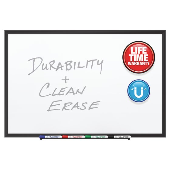 Quartet® Premium DuraMax® Porcelain Magnetic Whiteboards, Black Aluminum Frame