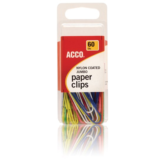 ACCO® Nylon Paper Clips, Smooth Finish, Jumbo Size, Assorted Colors, 60/Pack