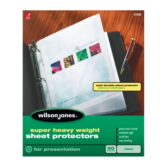 Wilson Jones® Super Heavy Weight Top-Loading Sheet Protectors