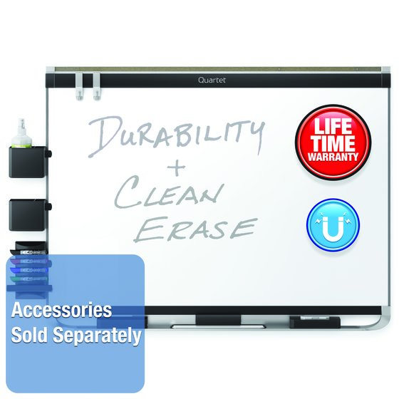 Quartet® Prestige® 2 DuraMax® Porcelain Magnetic Whiteboards, Black Aluminum Frame