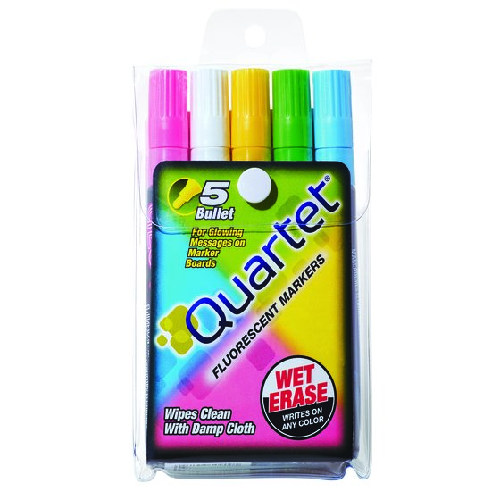 Quartet® Glo-Write® Fluorescent Markers, Wet-Erase, Assorted Colors, 5 Pack