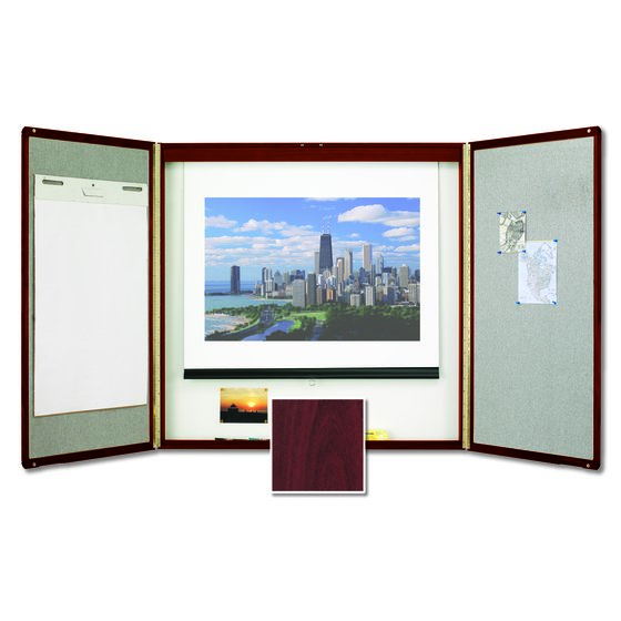 Quartet® Premium Conference Room Cabinet, 4' x 4', Whiteboard Interior with Projection Screen, Mahogany Finish