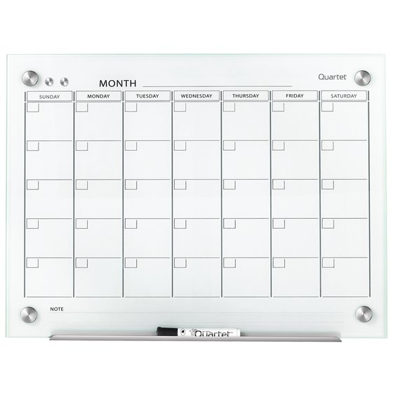 Quartet Infinity™ Magnetic Glass Dry-Erase Calendar Boards, White Surface