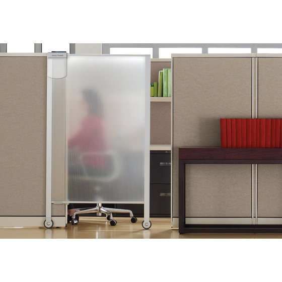 "Quartet® Workstation Privacy Screen, 38"" x 64"", Rolling, Full Length"