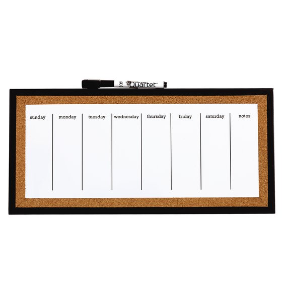Magnetic Dry Erase Weekly Organiser Cork Frame 360x140mm