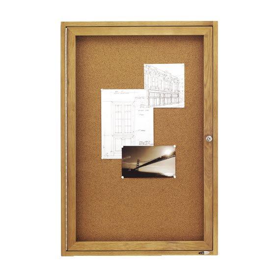 Quartet® Classic Style Enclosed Cork Bulletin Boards for Indoor Use, Swing  Door, Oak Frame