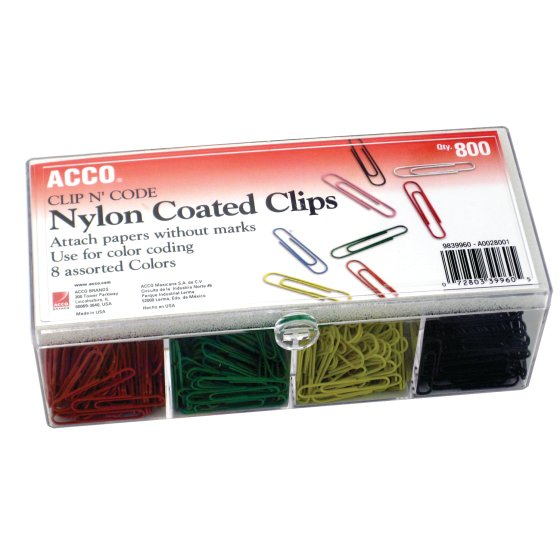 ACCO® Nylon Coated Paper Clips, Smooth Finish, Standard Size, 800/Box