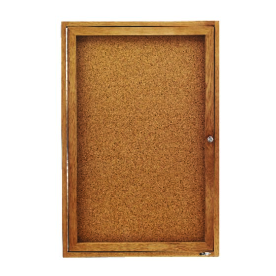 Quartet® Classic Style Enclosed Cork Bulletin Boards for Indoor Use, Swing Door, Oak Frame