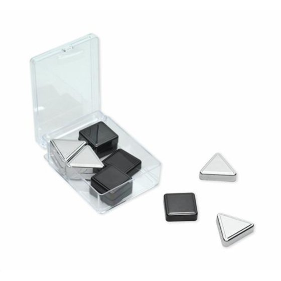 Quartet® Metallic Magnets, Silver/Graphite, 12 Pack