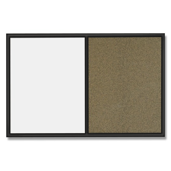 Quartet® Standard Combo Whiteboard/Bulletin Boards, Black Frame & Colored Cork