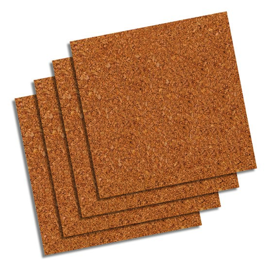 "Quartet® Natural Cork Tiles, 12"" x 12"", Frameless, Modular, 4 Pack"