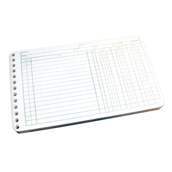 "Wilson Jones®  Ring Ledger Sheet, 5"" x 8 1/2"", White Paper, 100 Sheets/Pack"