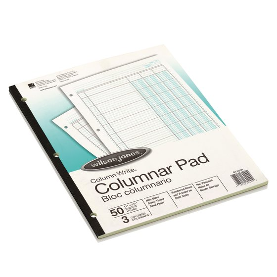 "Wilson Jones® Column Write® Pads, 8 1/2"" x 11"", 41 Lines, 3 Columns, 50 Sheets"