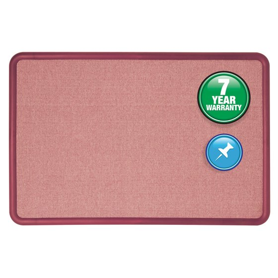 Quartet® Contour® Fabric Bulletin Board, 4' x 3', Burgundy Frame, Mauve Fabric