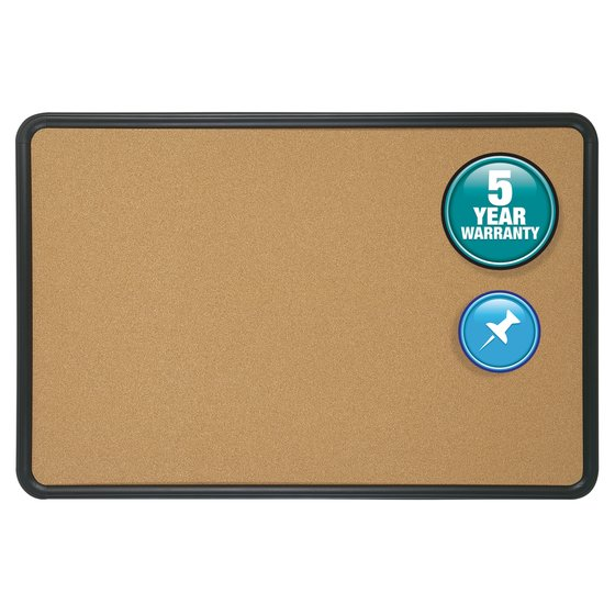 Quartet® Contour® Cork Bulletin Boards, Black Frame