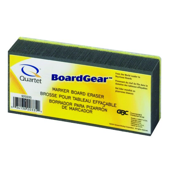"Quartet® Whiteboard Eraser, Soft Bristles, Washable, 5"" x 2 3/4"" x 1 3/8"""