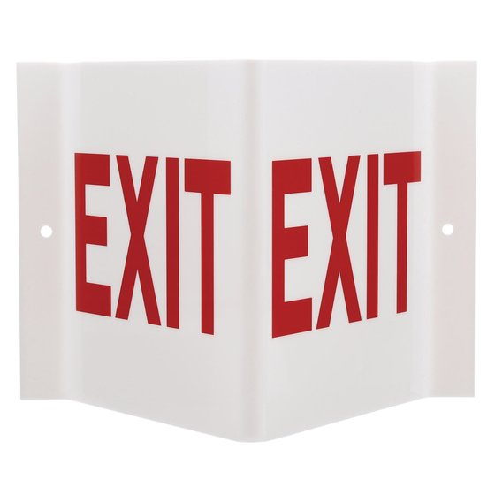 "Quartet® Three-Way Projecting Exit Sign, 9"" x 6"""