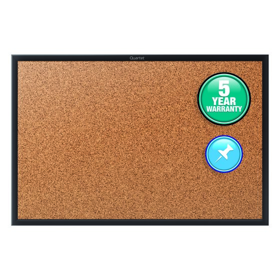 Quartet® Classic Cork Bulletin Boards, Black Aluminum Frame
