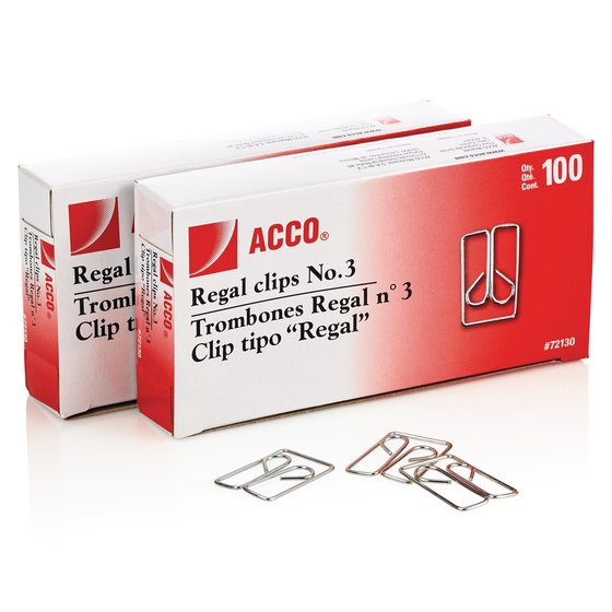 ACCO® Regal Clips (Owl Clips), Smooth Finish, #3 Size, 100/Box, 2 Pack