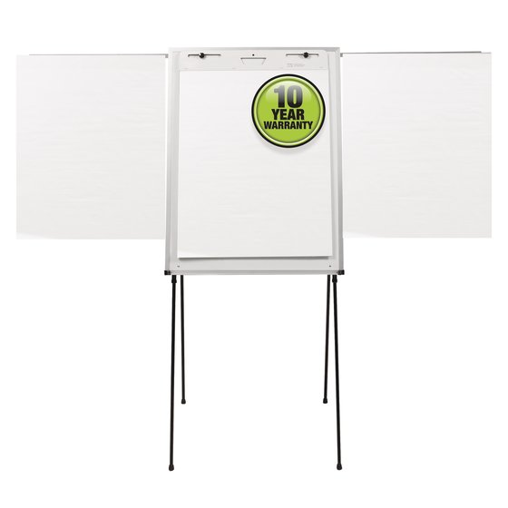 "Quartet® Steel Presentation Easel, Total Erase® Whiteboard/Flipchart, 29"" x 40"", Black Frame"